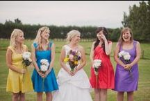 Colorful Weddings / Bright, mult-color weddings featuring mismatched bridesmaid dresses and monochromatic color schemes.