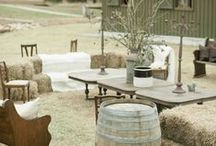 [ Barn wedding ] / This theme is inspired by the ranch and all that comes with it. Leather, cow print, wooden pallets or windmills,  or a big outdoor venue such as a barnhouse with long wooden farmhouse tables among other ideas.
