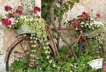 Bicyclettes et poésie`•. ¸ ¸. ☆ / Un vieux vélo, des fleurs... la poésie est partout !
