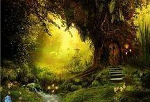 Forêts enchantées`•. ¸ ¸. ☆ / Tout ce qui fait le charme des forêts enchantées : des maisons dans les arbres, des animaux, de la lumière, etc...