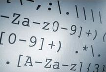 """Regular Expressions / In theoretical computer science and formal language theory, a regular expression (abbreviated regex or regexp) and sometimes called a rational expression is a sequence of characters that forms a search pattern, mainly for use in pattern matching with strings, or string matching, i.e. """"find and replace""""-like operations."""