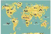 WERELDKAART / Zoek je inspiratie voor je huiskamer, slaapkamer, kinderkamer of ander gedeelte van je interieur? Kijk hier naar een wereldkaart op canvas of een wereldkaart op hout.