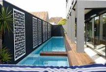 Screens & Pools / Laser cut decorative screens create beautiful poolside decor, privacy, and protection from the sun. They can be custom designed, cut, or painted to suit any design aesthetic.  Here are some of our best screen installations alongside inspiring poolside designs to fuel your home improvement imagination. ~QAQ