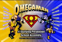 Posters / https://www.omegamanschools.com  Omegaman & Friends is a very unique #schoolassembly presentation because it delivers the #bullying prevention / character development message through a #SUPERHERO Theme -- an image which youth look up to and mimic. More information go to www.omegamanschools.com