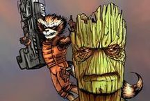 Marvel Heroes - Guardians of the Galaxy Art / Celebrating our favorite Marvel animation and comic art for the Guardians of the Galaxy: Star Lord, Gamora, Drax, Groot, and Rocket Raccoon.