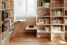 bookcase and containers