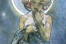alphonse mucha / art.nouveau posters at their best. Beautiful organic lines, flowers, wonderful angelic women set before an ornamental backgroung, advertising ciarettes and champagne... He's one of my favourite Art-Nouveau artists.