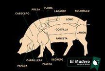 Despiece del Cerdo Ibérico / Carne procedente de un cerdo de raza ibérica, criado en libertad y alimentado de forma natural. Su Carne es untuosa y fragante, tiene un aspecto brillante, de color entre rosa y rojo púrpura, dejando un gusto de aromas delicados y sabores duraderos.