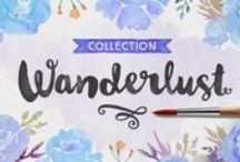 Wanderlust Collection #Fonts / Wanderlust Letters has returned, but now offered in a beautiful collection of hand painted scripts. New versions include Wanderlust Letters Pro, Decorative, Boho, Chic, Shine, Gold, Caps, and Ornaments.