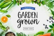 Garden Grown Fonts / Garden Grown is a lovely font duo by Cindy Kinash. This new font family includes a caps and script. The script comes with alternates and ligatures. Try Garden Grown for book covers, stationery, marketing, magazines and film. Poster art by Corinne Alexandra.