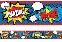 Superhero Theme / Whether it is Batman, Superman, Wonder Woman or Spiderman each Superhero has the same agenda, to promote and protect the good things in our society. Encourage these values by rewarding your own classroom superheroes. The Superhero range of products, which is predominantly red, white, black, yellow and blue in colour is strikingly distinctive and eye catching. Keep this theme running and watch the superheroes, caped crusaders and dark knights emerge.