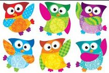 Owl-Stars!  Classroom Theme / With their big eyes and colourful coats, owl stars have established themselves high in student popularity stakes. These feathery fellows form a family of moonlight mates. A wonderful theme to carry through the school year because owls are deemed to be not only wise but tranquil and intuitive. There are many products in this range to complement those sentiments including charts, accents, stickers and trimmers.