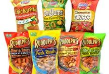 Rudolph's Product Line! / Rudolph's is the world's largest manufacturer of Pork Rinds as well as Pork Cracklins, in addition to other snacks like Chicharinas, Cinnamon Twists, and OnYums!