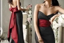 Wedding Bridesmaid Dresses Black & Red