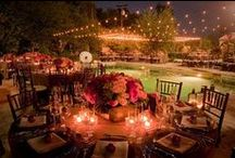 Kaitie's Dream Wedding / Colors: Turquoise, Sangria, Cream, Fuchsia. All outdoor wedding with tons of twinkle lights with an amazing view!