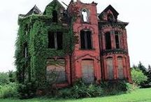 Abandoned, Restored, Haunted, mansions and homes / A group of mysterious buildings of all kinds-- deserted.  What happened?  Who lived there?  Some interiors-- overgrown, sad, questioning. And houses that were saved and resored. / by Jo Schram