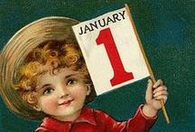 Vintage illustrations... Bonne Année... Happy New Year...