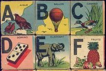 Vintage illustrations... A B C, 1 2 3