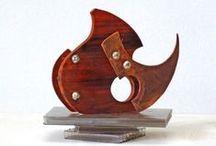 Micro esculturas, madera-cobre-plata / Esculturas, madera-cobre y plata