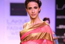 """Mandira Bedi Saree Collection / Mandira Bedi made her debut as a designer at Lakmé Fashion Week 2014 and showcased a sari collection titled """"Real Women"""". Bedi stated, """"I have used summer colors for my saris and with fabrics which include silk, satin and Georgette.""""  The collection received a warm welcome and she emerged as a thoughtful and vibrant designer."""