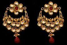 EARRINGS / Kundan, Gold Pleated, designer traditional Indian style earrings.