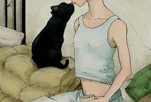 bonnie se kat kuns / cat art and other animals