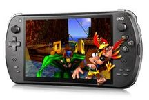 JXD / The JXD is a powerful, dual-stick Android device specifically designed for retro gaming. The machine is capable of emulation ranging from MAME to Mega Drive to N64 to Dreamcast - and it's really easy to find and download games.  For more information:  http://www.funstock.co.uk/jxd-s7800b-android-gaming-tablet