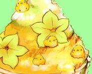 Kawaii Birdie Food / © http://chai.wa-sanbon.com/top.html Artist @ twitter: drawingchisanne