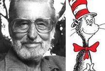 dr. Seuss / alle boeken van dr. Seuss (pseudoniem voor de Amerikaanse schrijver en illustrator Theodor Seuss Geisel) op een bordje!