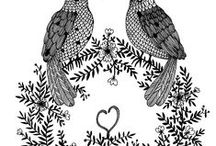 spring / skethes, flowers, birds, love