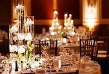 Captivating Centerpieces for Events and Weddings / A collection of striking centerpieces, ranging from modern decor with clean lines to grand floral arrangements.