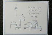 Christmas / Handstamped cards using Morningstar designs