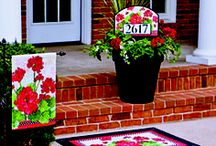 Summer Flags and Matching Garden Decor / Choose from a variety of colorful house and garden flags, plus matching mailbox covers, doormats and address signs.  Large collection of garden decor with charming themes and artistic designs.