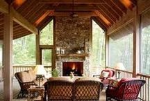 Deck Ideas / Loving screened in deck areas...especially with fireplaces!