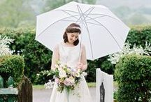 "BROLLIES and BLOOMS - a recent 'showery' wedding / Delightful 'wet weather' wedding, photographed by Dominique Bader Photography featuring our lovely bridal/wedding umbrellas ""Grab A Brolly and Go Explore"""
