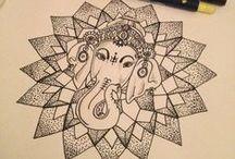 Tattoo Ganesha Lotus Hamsa Lis / Deusa Ganesha; Flores Lotus e Lis; Mão Hamsa.