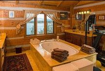 Log: Bathrooms / <Beautiful bathrooms found in Log Homes>