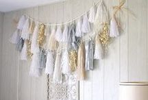 ~ tassel inspiration ~ / Tassels are gorgeous decorations and can be used in so many different ways.  Use as a garland, dress up a dessert table or use as a backdrop.
