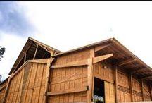 Bodega Taller de Ensamble / Bodega de producción de Taller de Ensamble. Construcción en madera con vigas y columnas de madera laminada de grandes dimensiones.