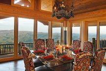 Log Home interior design / Home Décor, Interior of Log Cabins, The Orginal Log Homes, Modern to Rustic, Design. Beautiful Homes