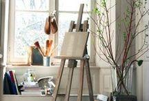 Art Studio Ideas / Ideas to improve your art studio, ideas for small studio spaces and idyllic artist studios