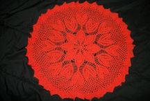 Crochet doilies, etc.(mine) / Doilies, tablecloths, table runners, all crocheted by me.