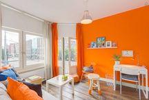 Styling Orange & Blue (studio) / Basis wit en grijs, met felle kleur voor accenten.
