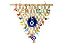 Macramé-Evil Eye / The Evil Eye charm is said to deflect negative energy. These macramés can be hung from the wall or ceiling and are handmade by skilled craftsmen in Turkey.