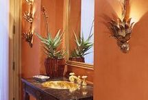 """Cozywarm Bathrooms: / I Look for Earth-Tones, Warm Woods, Southwestern Influence, Mellow Lighting and Vibrant Accent Colors For Our Bathrooms.  As Shower-People, We Don't Require Bathtubs, But Look For Privacy and Romantic Warmth.  I've Kept the Word on the Pins as I Found Them.  """"Let's Clean Up!"""" / by Mayqueen Flower"""