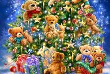 """Artwork: Christmas: / All the Trimmings of the Season!  I've Kept the Words on the Pins as I Found Them.  """"Seasons Greetings!"""" / by Mayqueen Flower"""