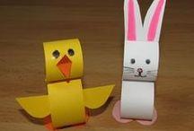 Húsvét / Nyuszik, csibék, bárányok és húsvéti tojások - papírból, fonalból, csipeszből, tojástartóból