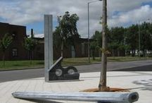 Square & Pencil / Andrew McKeown- 'Square & Pencil', Queensway, East Middlesbrough Industrial Estate.  Galvanised Steel with etched patinas. Various dimensions. 2010