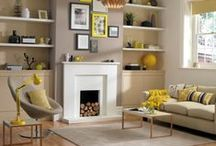 Livingroom decor idea / Grey and yellow livingroom ideas woth accessories