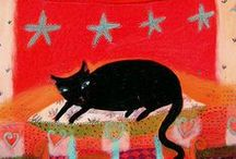 Black Cats. OK, all cats / In memory of my dearest Minnie and George. / by Thérèse Revell